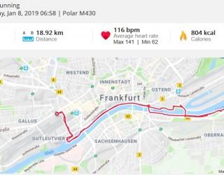 LaufTRaining in Frankfurt am Main mit ausführlicher Dokumentation im POLAR M430